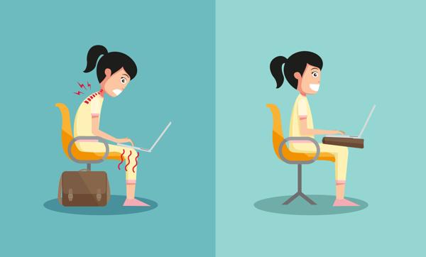 Mantén tu postura erguida cuando utilizas el ordenador